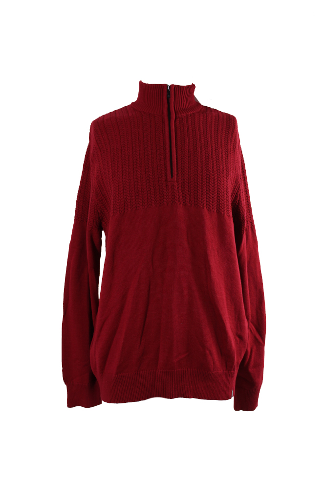 Calvin Klein Red Half-Zip Multi-Texture Sweater XL | eBay