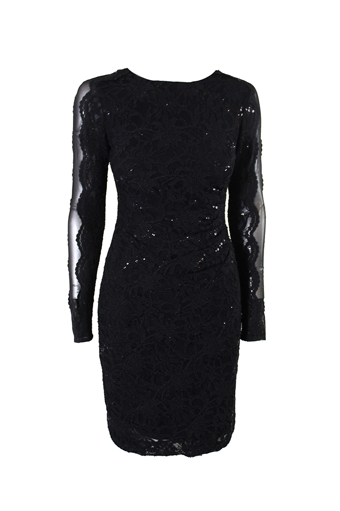 Image is loading Lauren-Ralph-Lauren-Black-Sequined-Lace-Dress-0