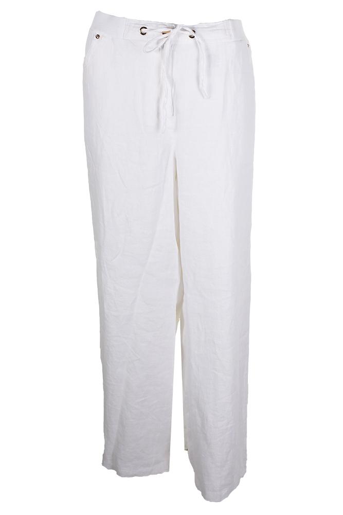 3ae32ad5362 Jm Collection Plus Size White Drawstring-Waist Linen Pants 14W MSRP ...