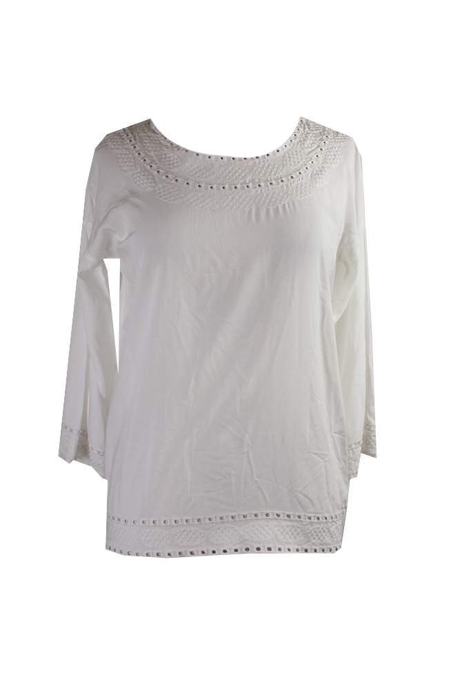 Studio-M-Ivory-3-4-Sleeve-Embroidered-Top-XS-MSRP-58