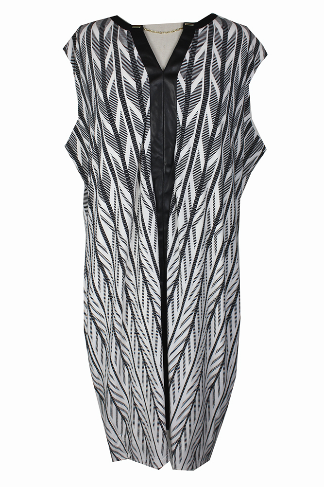 City Chic Trendy Plus Size Black Purple Combo Zip Front Tunic Dress