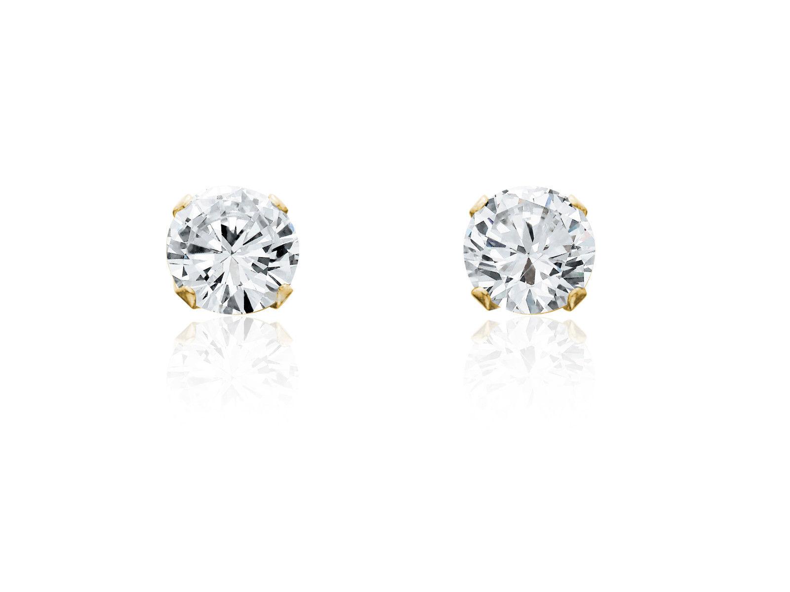 Fine Jewelry 7mm Cubic Zirconia Stud Earrings 14K Gold Gb7XkMJCIx
