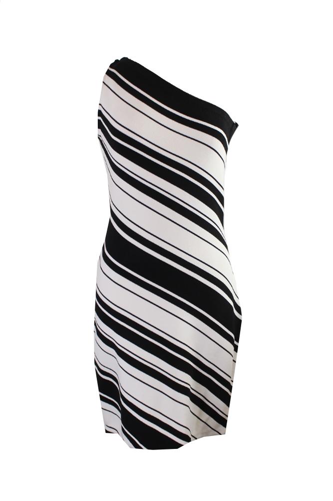 Lauren Ralph Lauren Black Sleeveless Striped One Shoulder Dress M