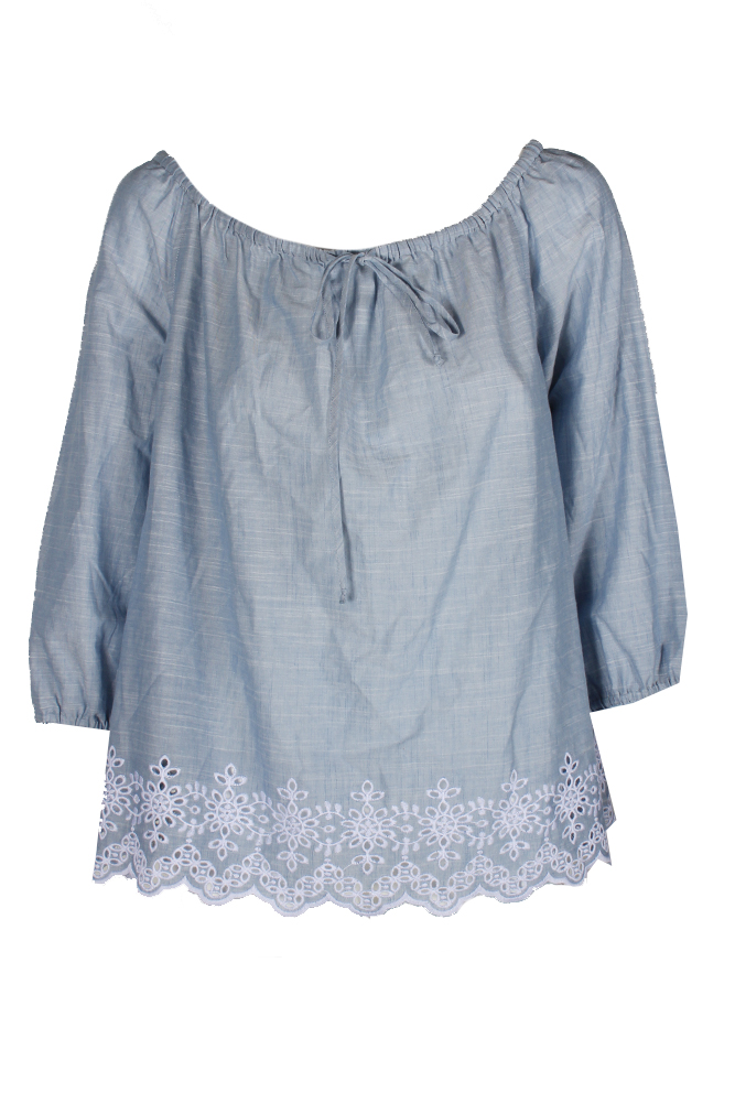 5e241693bf8 Image is loading Inc-International-Concepts-Blue-Embroidered-Off-Shoulder- Blouse-