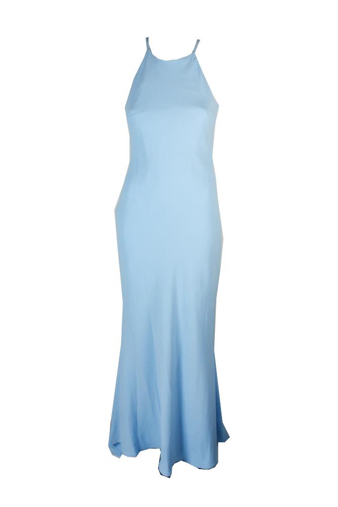 Calvin Klein Blue Sleeveless Crepe Halter Gown 6 Msrp 199