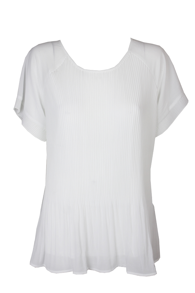 8394794f582b6 Ny Collection Plus Size Ivory Short-Sleeve Pleated Blouse 1X MSRP ...